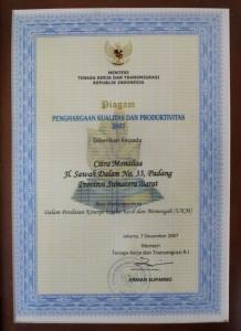 Batik Tanah Liek | Batik Padang | Piagam Kualitas Produksi 2007